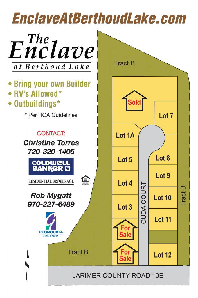 Enclave at Berthoud Lake Lot Map, Berthoud Colorado